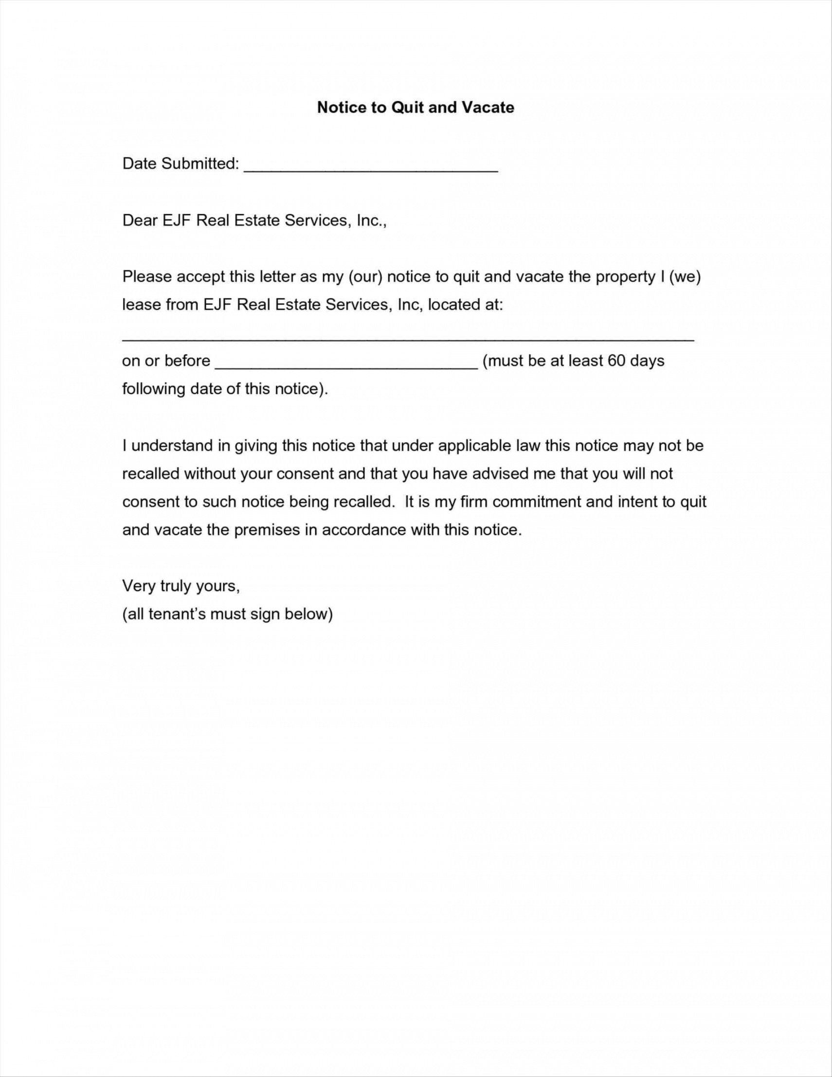 Browse Our Example of 19 Day Notice To Vacate Apartment Template