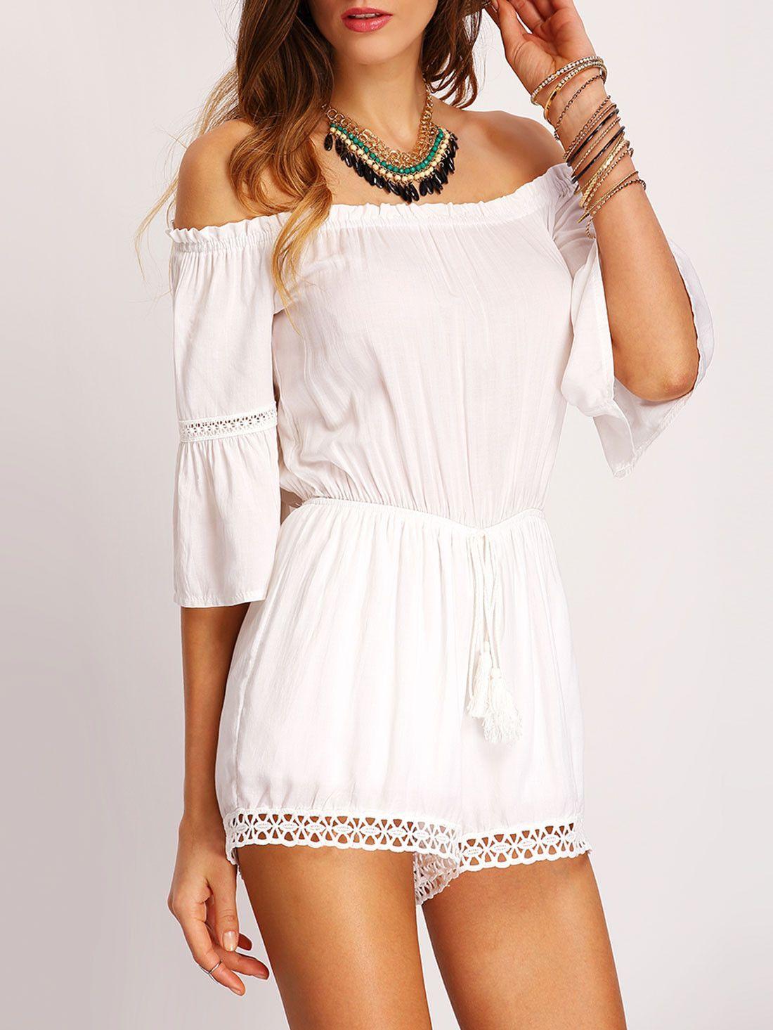 a8ce70edbc6d Trendy white off the shoulder romper. Summer white crochet jumpsuit. Casual  rompers