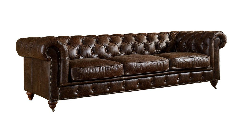 Century Chesterfield Sofa Dark Brown Leather Leather