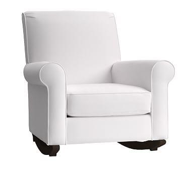 Charleston Convertible Rocker Twill White Espresso Chair And Ottoman Armchair Nursery
