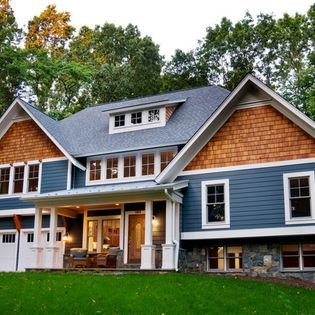 Blue Siding And Brown Shakes House Exterior Blue Craftsman