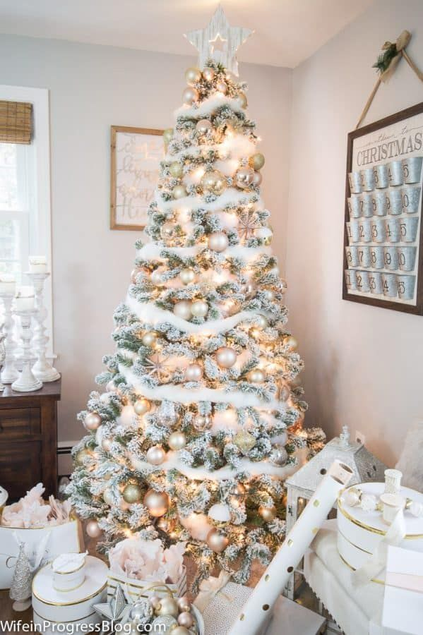 Christmas Decorating Ideas Blush Pink  Gold Christmas Tree