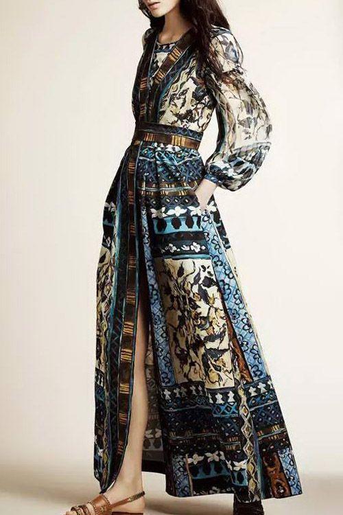 Abstract Print V Neck Long Sleeve Maxi Dress  32fd07eb0
