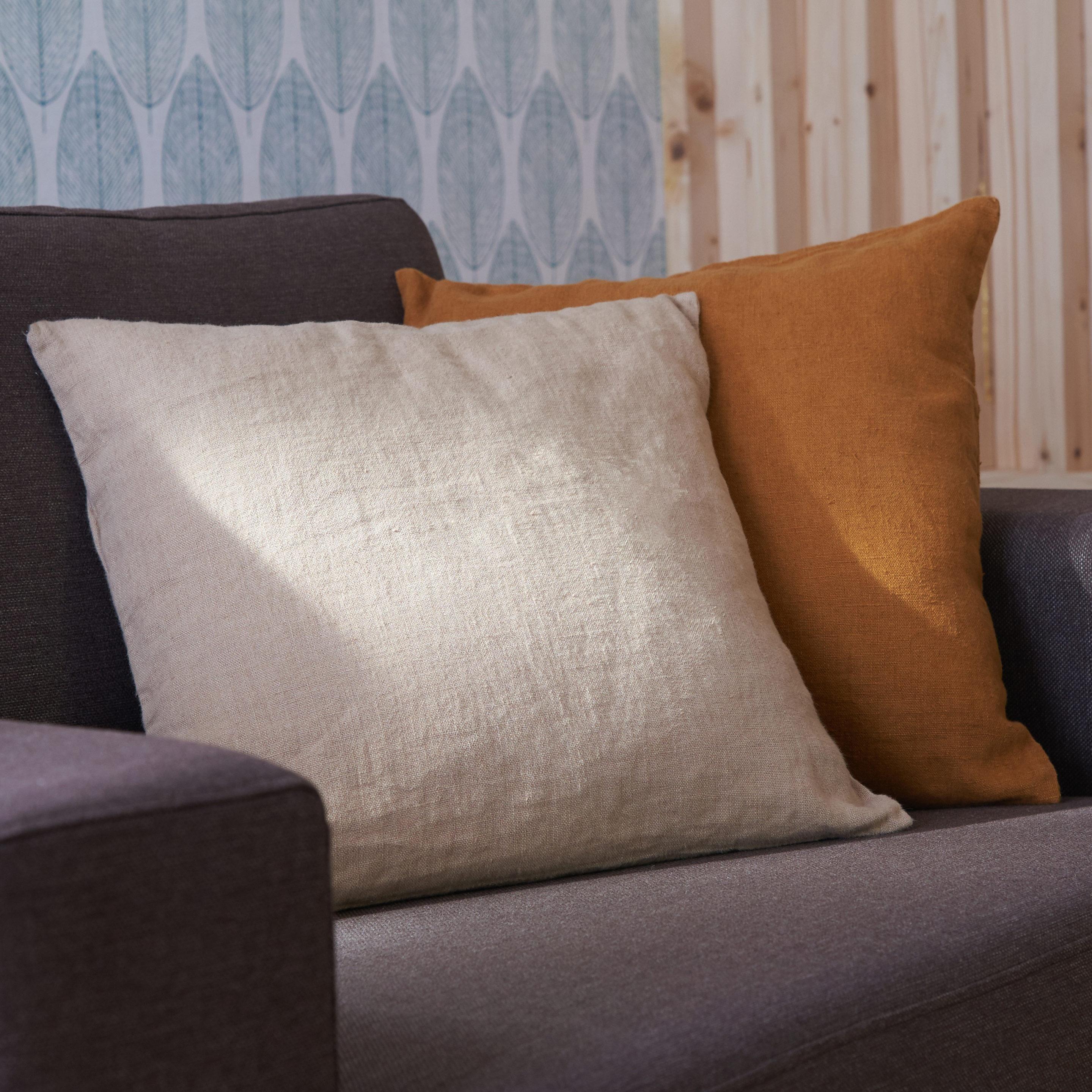 Leroy Merlin Teinture Textile coussin solenzara lin lavé, naturel l.45 x h.45 cm | lin