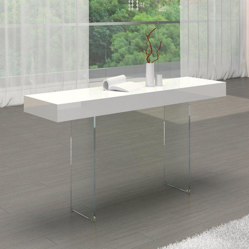 Casabianca Home Il Vetro Collection High Gloss White Lacquer Console Table Cb 111