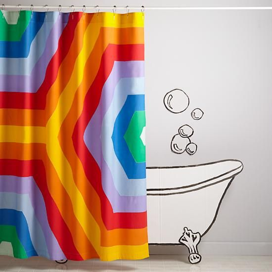 Rave Rainbow Shower Curtain | The Land Of Nod  Maybe For Reedu0027s Bathroom,  Just