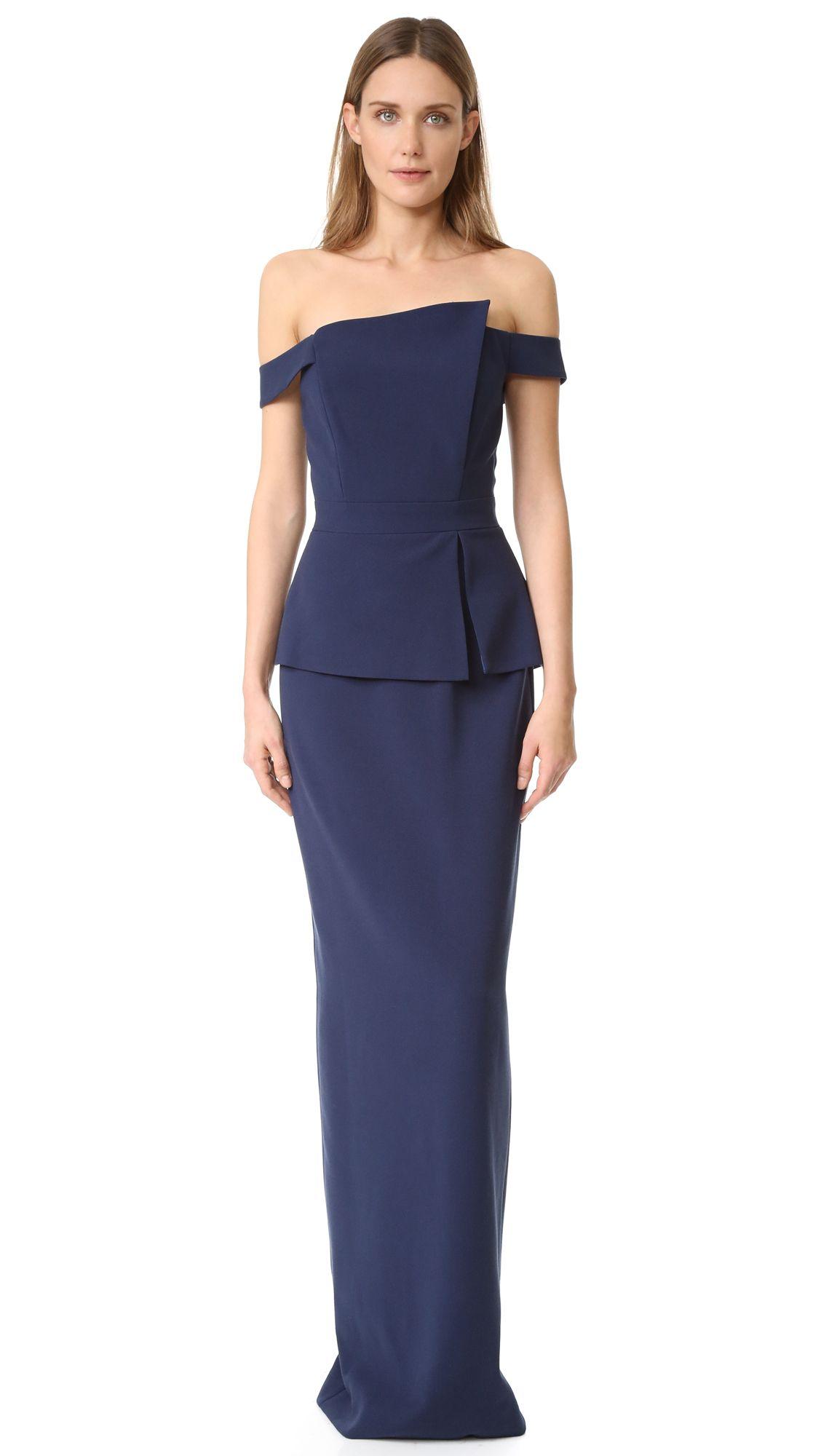 Buy it now. Black Halo Raya Gown - Navy. An asymmetrical neckline ...