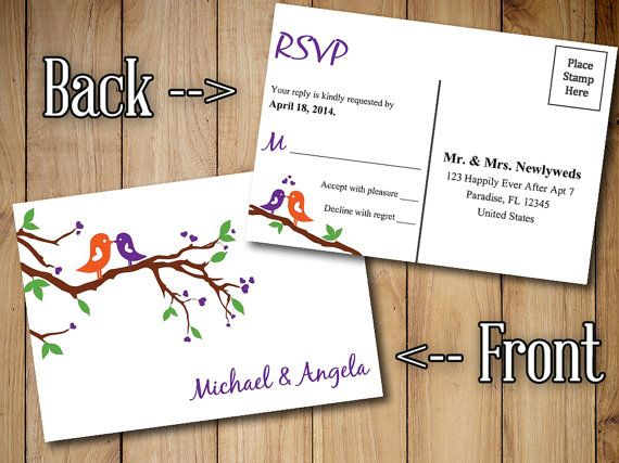 Wedding RSVP Postcard Template Response Card - Printable Wedding ...