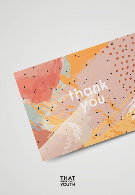 Printable Thank You Card, Wedding Thank You Note, Abstract Illustration, Watercolour Style, Place Setting Thank You, Instant Download