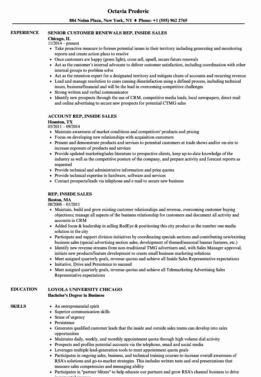 Inside Sales Resume Examples Best Of Rep Inside Sales