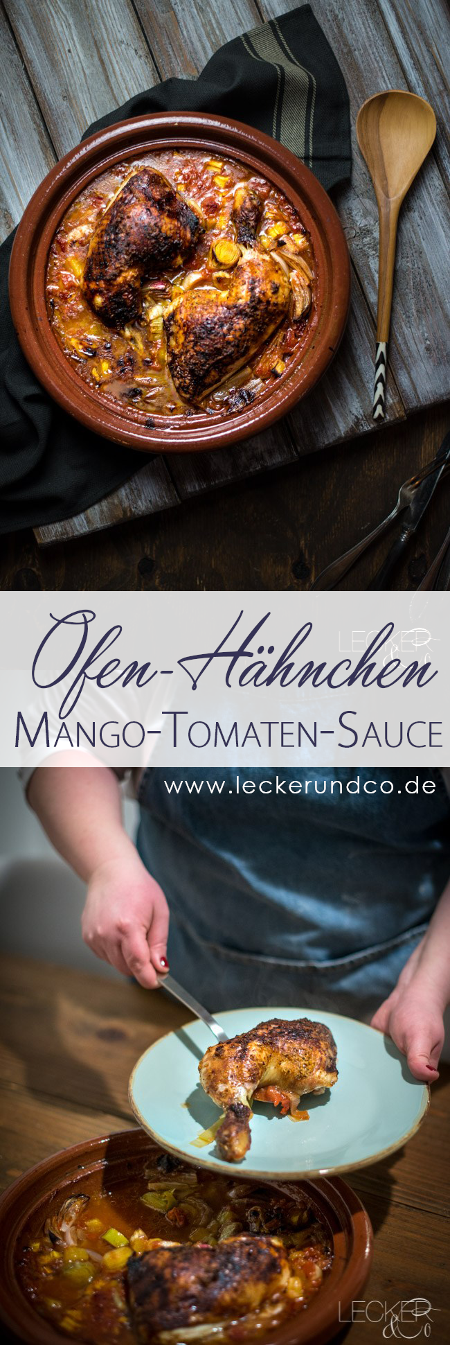 ofen h hnchen in mango tomaten sauce hahn mango und ofen. Black Bedroom Furniture Sets. Home Design Ideas
