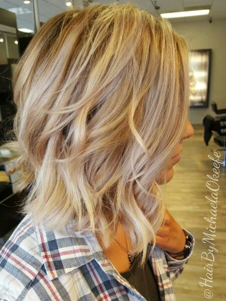 Short Hairstyles With Highlights And Lowlights Dimensional Blonde Created With Highlights Lowlights And Balayage