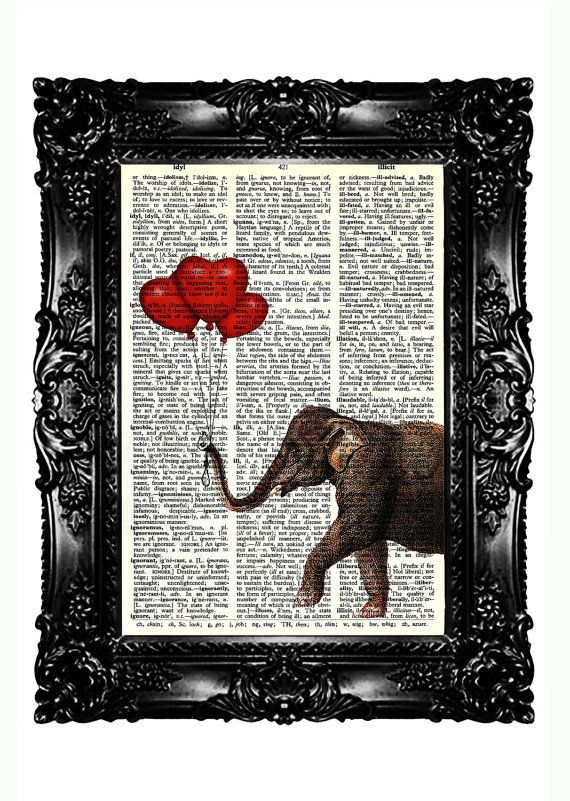 elephant red heart balloon dictionary art print upcycled book prints vintage book print. Black Bedroom Furniture Sets. Home Design Ideas