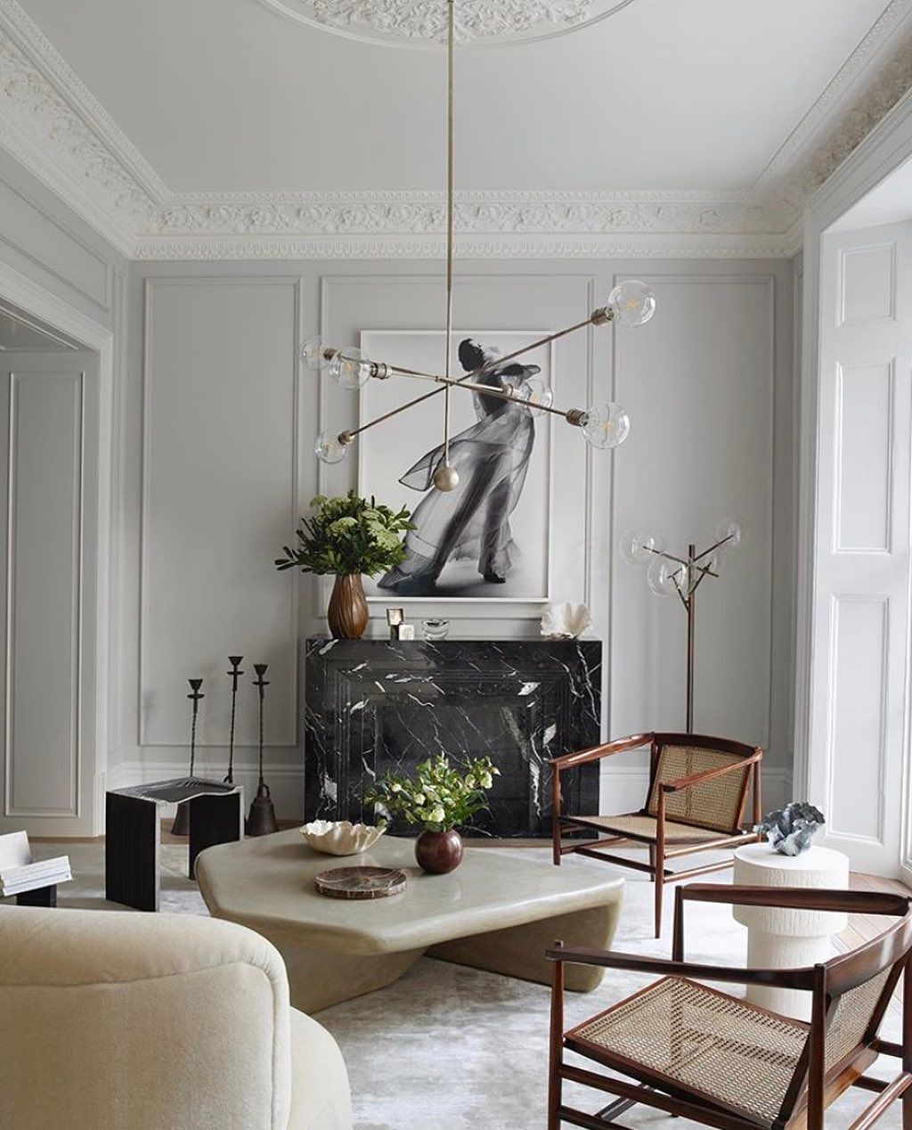 Marble Wood Fabrics All Our Favorite Materials And Textures In One Living Room This Is A Gr Contemporary Living Room Design Decor Beautiful Living Rooms