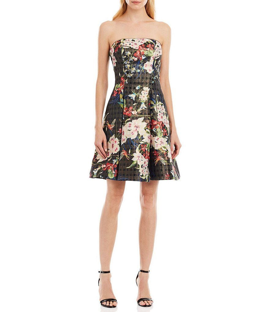 9ada480fcc1b Nicole Miller New York Strapless Floral Print Fit-and-Flare Dress ...