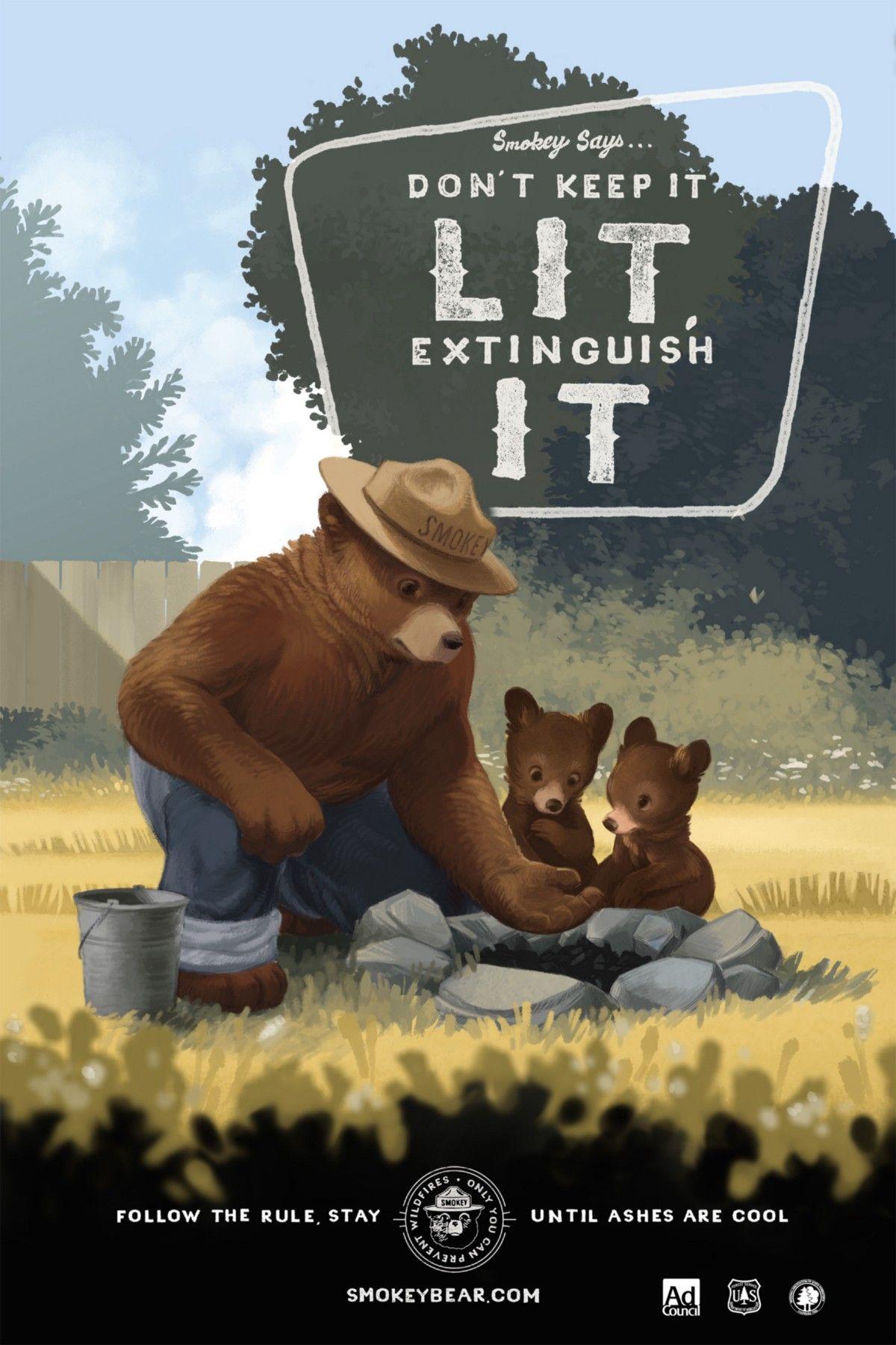 1 Smokey Bear Sign.MARKING TRAILS  BOUNDRIES.SMOKEY WOODCUT LOOK IMAGE.