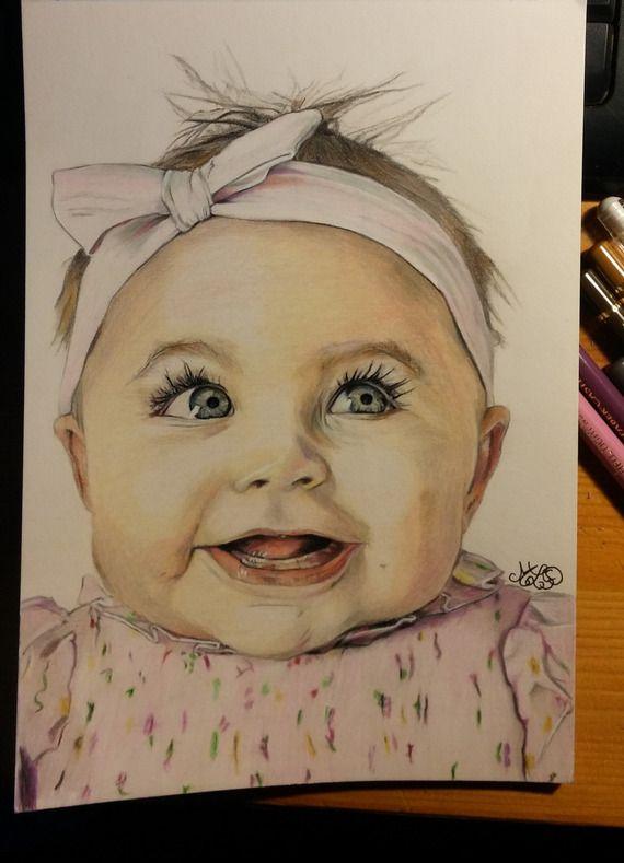 Portrait Petite Bouille Aux Crayons De Couleur Drawings