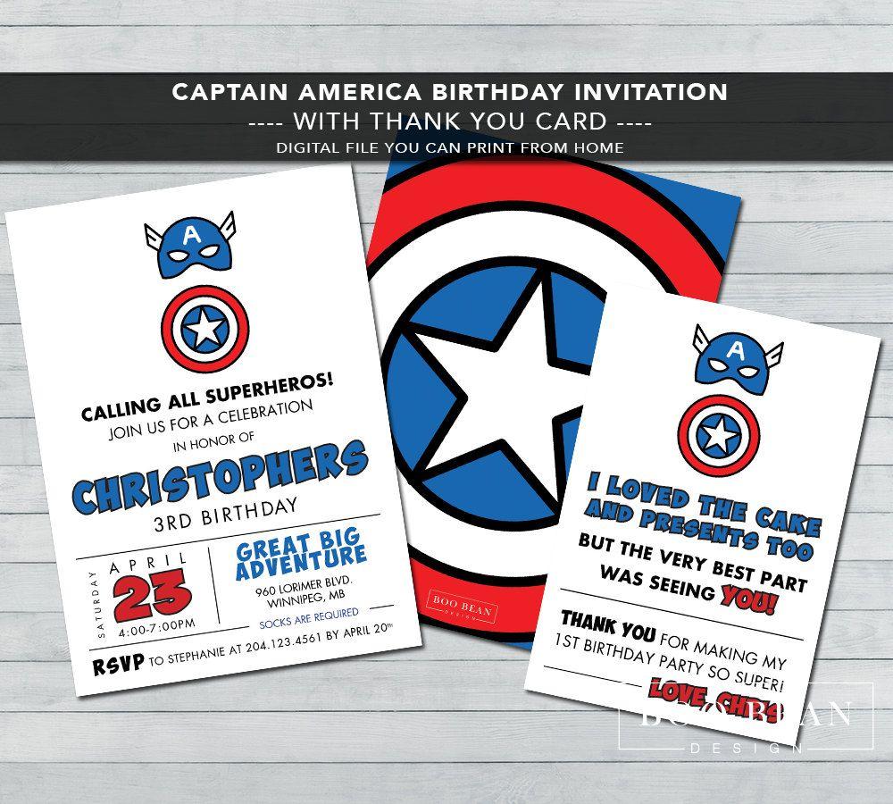Captain America Birthday Invitation | Printable Invitation ...