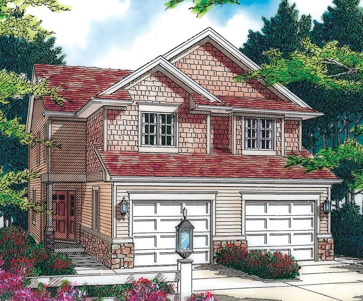 Best Plan 69243Am T Shaped Staircase In Cottage Duplex 400 x 300