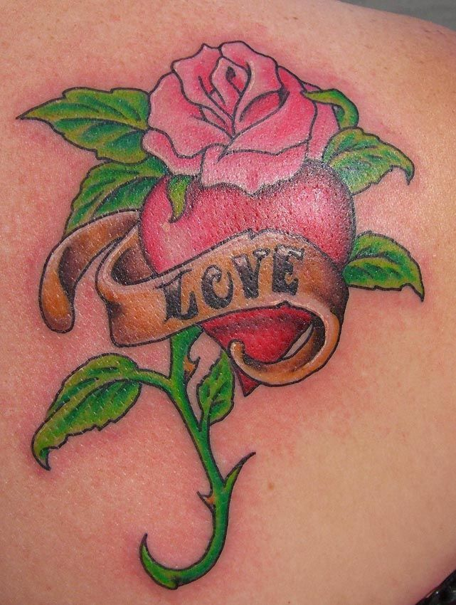 Heart shaped angel wings tattoo heart tattoo bht 5 for Rose heart tattoo