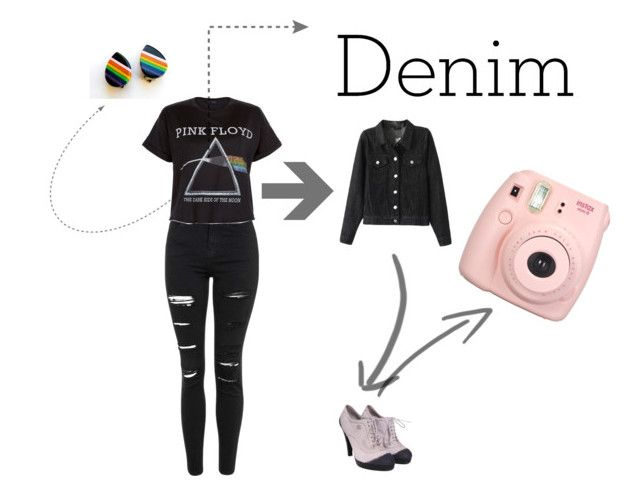 """Pink Floyd Denim"" by mayflowers1456 ❤ liked on Polyvore featuring Topshop, Floyd and Chanel"