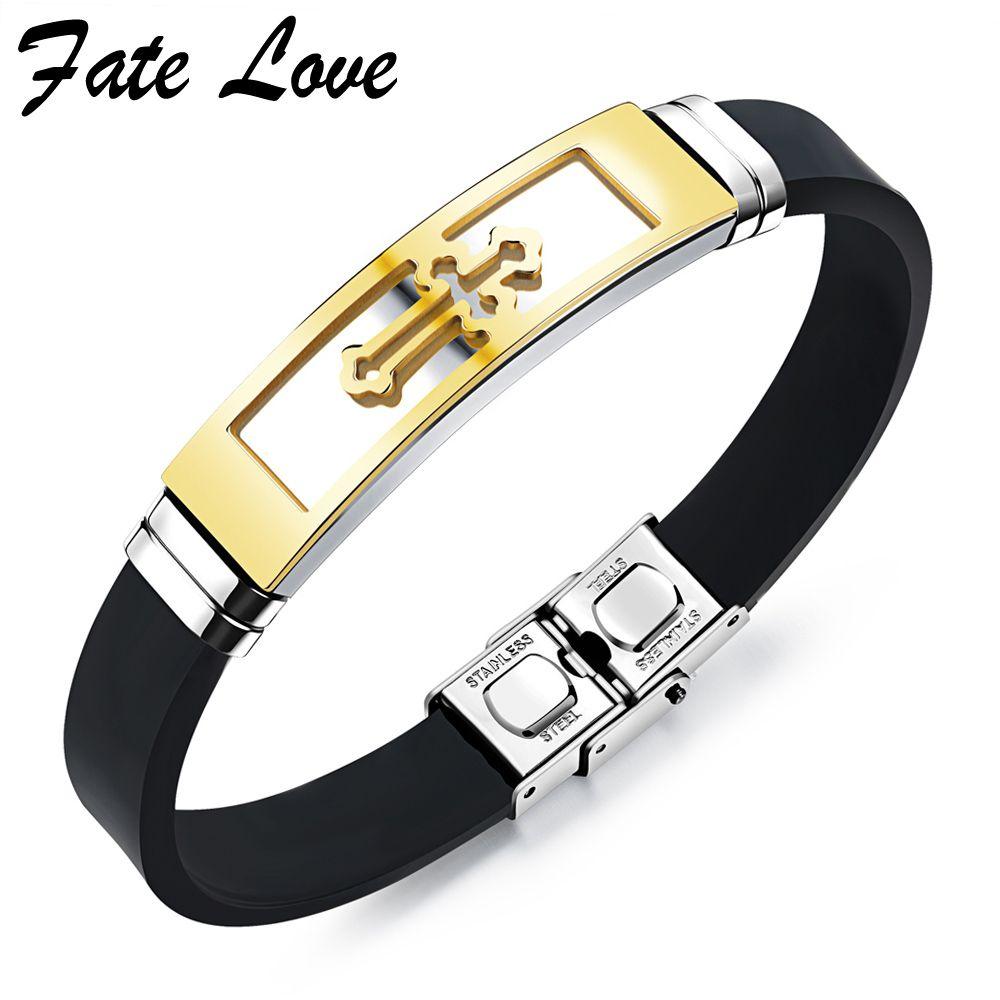 Silicone bracelet men jewelry pulseras stainless steel cross