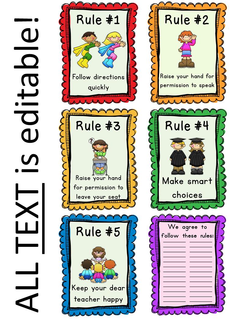 Editable Classroom Rules & Whole Brain Teaching Rules