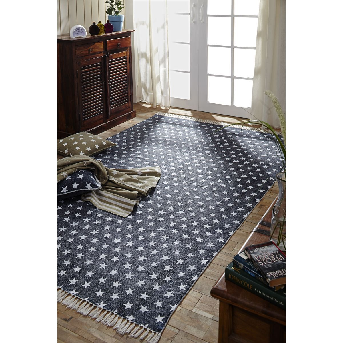 Best Multi Star Navy Cotton Rectangle 48 X 72 Rug Rugs 400 x 300
