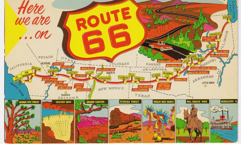 Route  Vintage Postcard Get Your Kicks On Pinterest - Los angeles map vintage