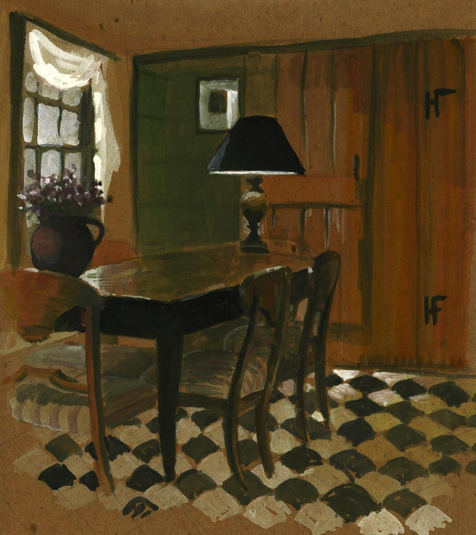 """Pinner says: """"A watercolor I did of a room ripped out of an old Architectural Digest."""""""
