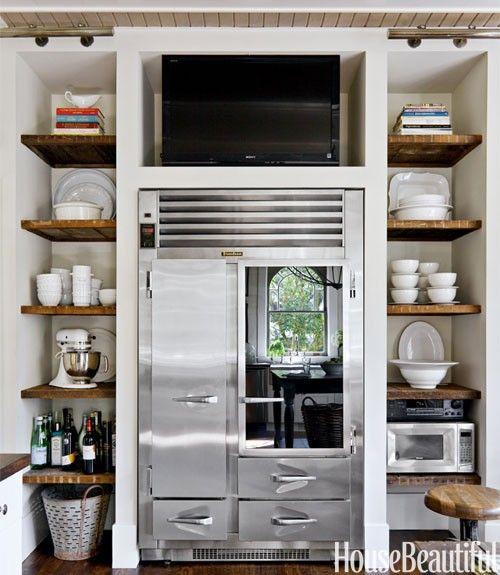 Built In Around Refrigerator Home Kitchen Design Home Kitchens