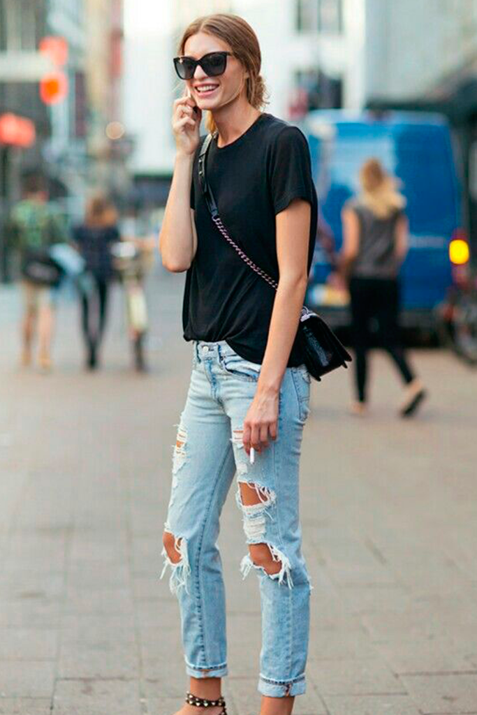 #basic #streetstyle #outfit #looks #basicos #inspiracion #inspiration #ripped #jeans