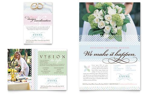 Wedding  Event Planning Flyer  Ad  Word Template  Publisher