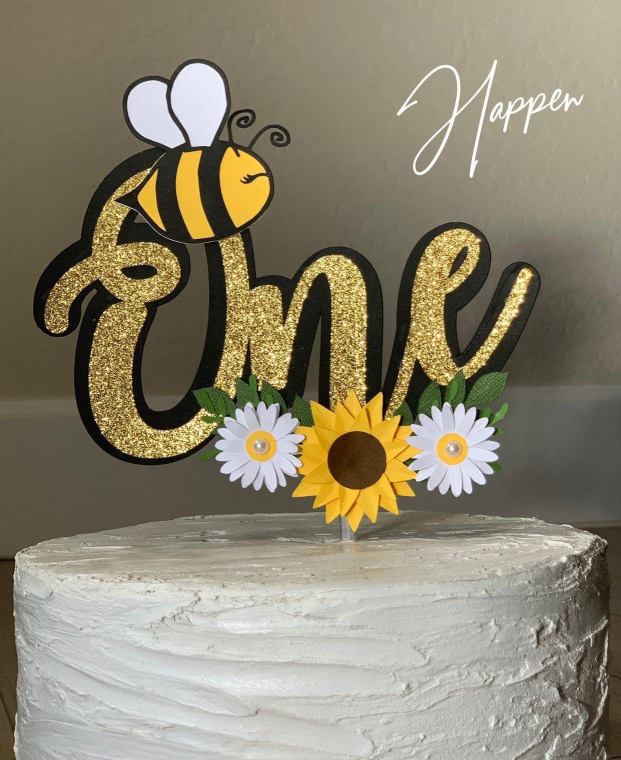 bumble bee sunflower baby shower cake topper yellow peony baby on flower cake topper edible fondant flower baby by SweetNewCreations
