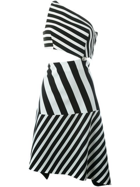 Shop Mugler striped asymmetric dress in Petra Teufel from the world's best independent boutiques at farfetch.com. Shop 300 boutiques at one address.