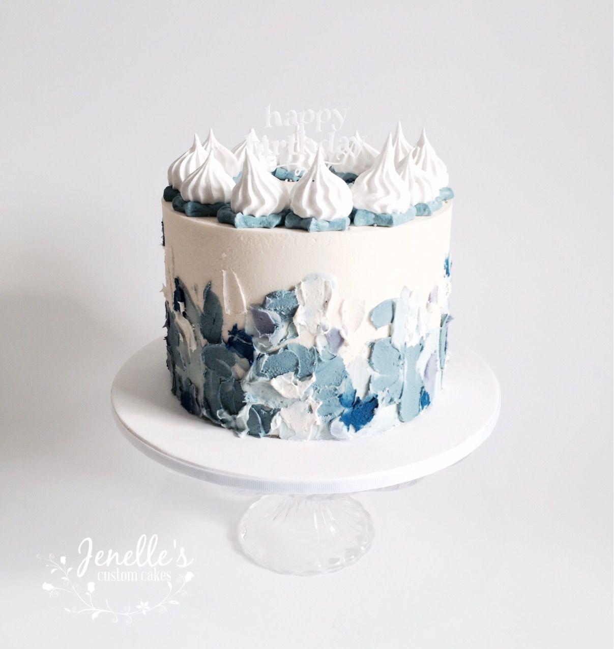 Blue detailed cake with meringue kisses. By Jenelle's ...