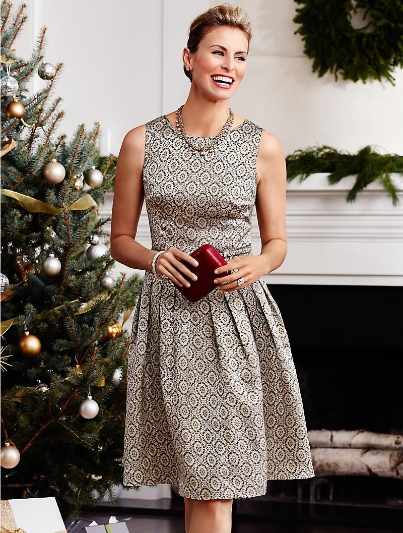 Talbots Golden Brocade Dress Dresses Misses Dresses Party Dress Outfits Holiday Party Fashion [ 1057 x 800 Pixel ]