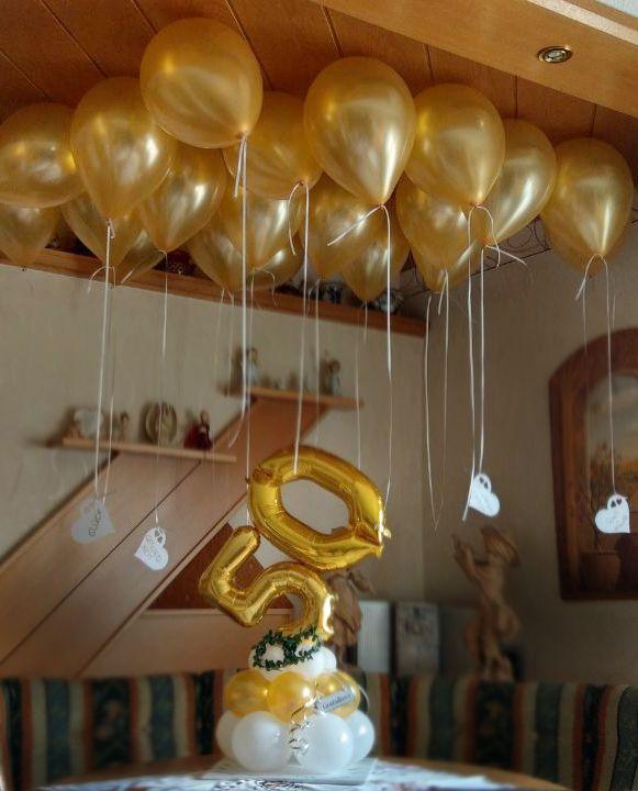 Luftballondeko Zur Goldene Hochzeit 50 Jahre Verheiratet Gibt S Bei Luftballons Zum Staunen Silke Sc Goldene Hochzeit Ballons Hochzeit Diamantene Hochzeit