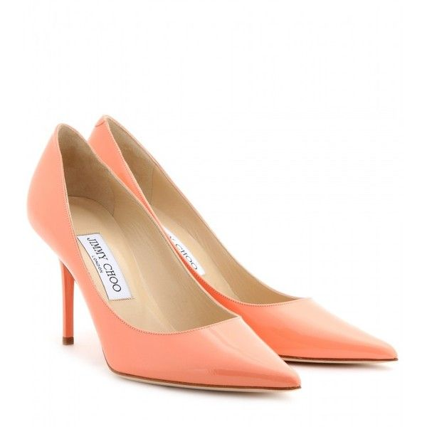 Jimmy Choo Agnes Patent-Leather Pumps (8 960 UAH) ❤ liked on Polyvore featuring shoes, pumps, heels, grapefruit, high heeled footwear, pointy-toe pumps, jimmy choo pumps, pink shoes and pink pointed toe pumps