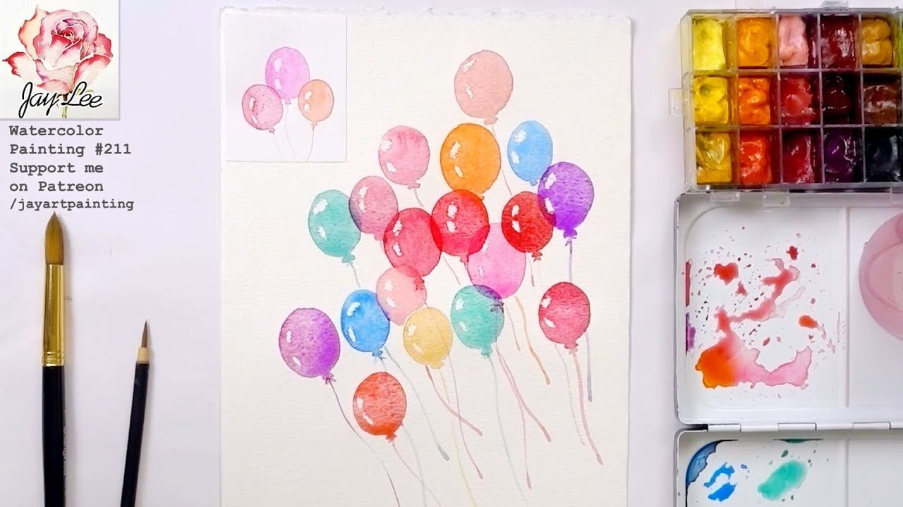 Cotton Candy Balloons Paper Trufflez Watercolor Birthday