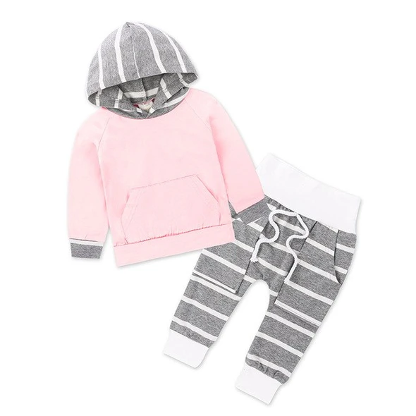 Newborn Toddler Baby Boys Girls Striped Hoodie Tops Pants Outfits Causal Suits