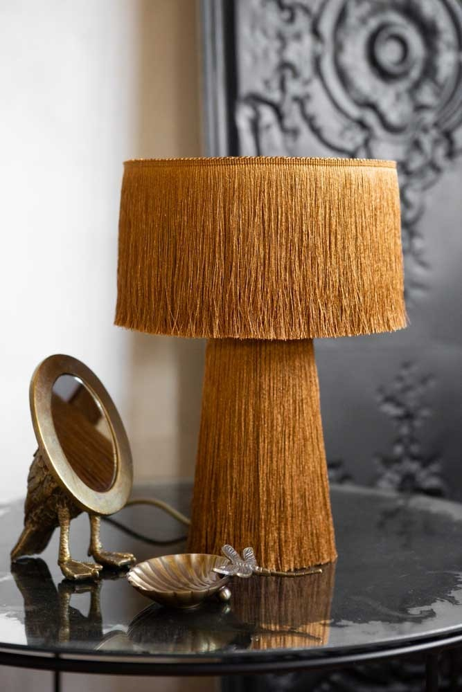 Mustard Yellow All Over Fringe Table Lamp Rockett St George Lamp Table Lamps Uk Table Lamp