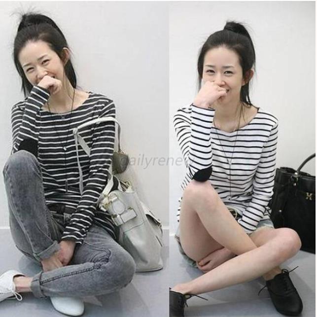 Aliexpress.com: Comprar Ocio mujer cuello redondo flojo Tops manga larga camisa a rayas camisetas de precio 3g fiable proveedores en US'US