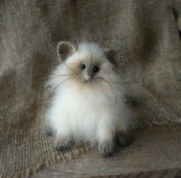 Siamese kitten Art Sculpture Animal Handmade by OlgaMareeva, $136.00