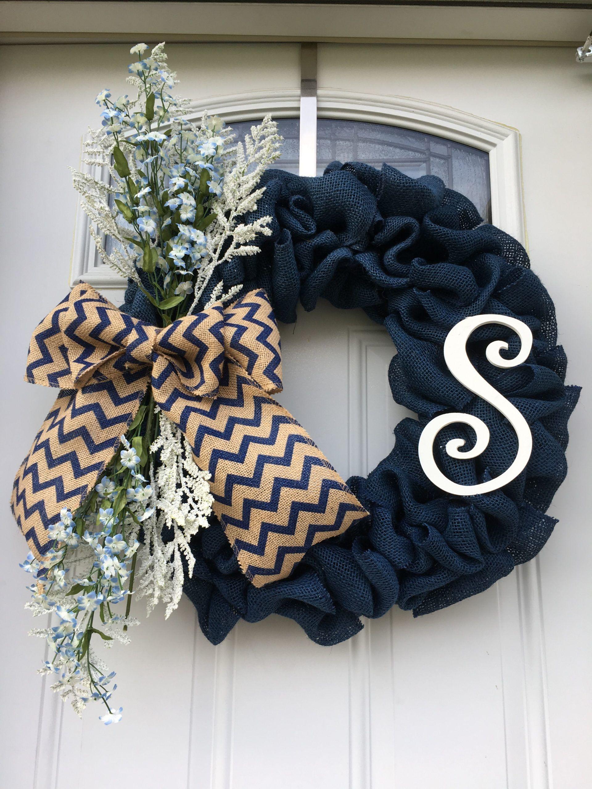 Photo of Blue burlap monogram wreath with flowers
