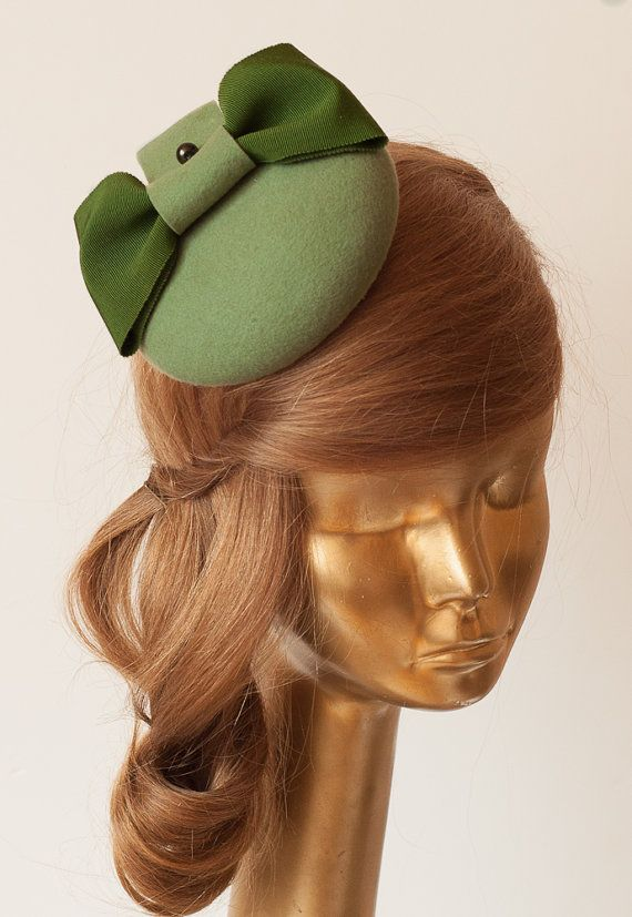 735c0c721e3a4 Modern Green Felt Fascinator. Fascinator for Women by ancoraboutique ...