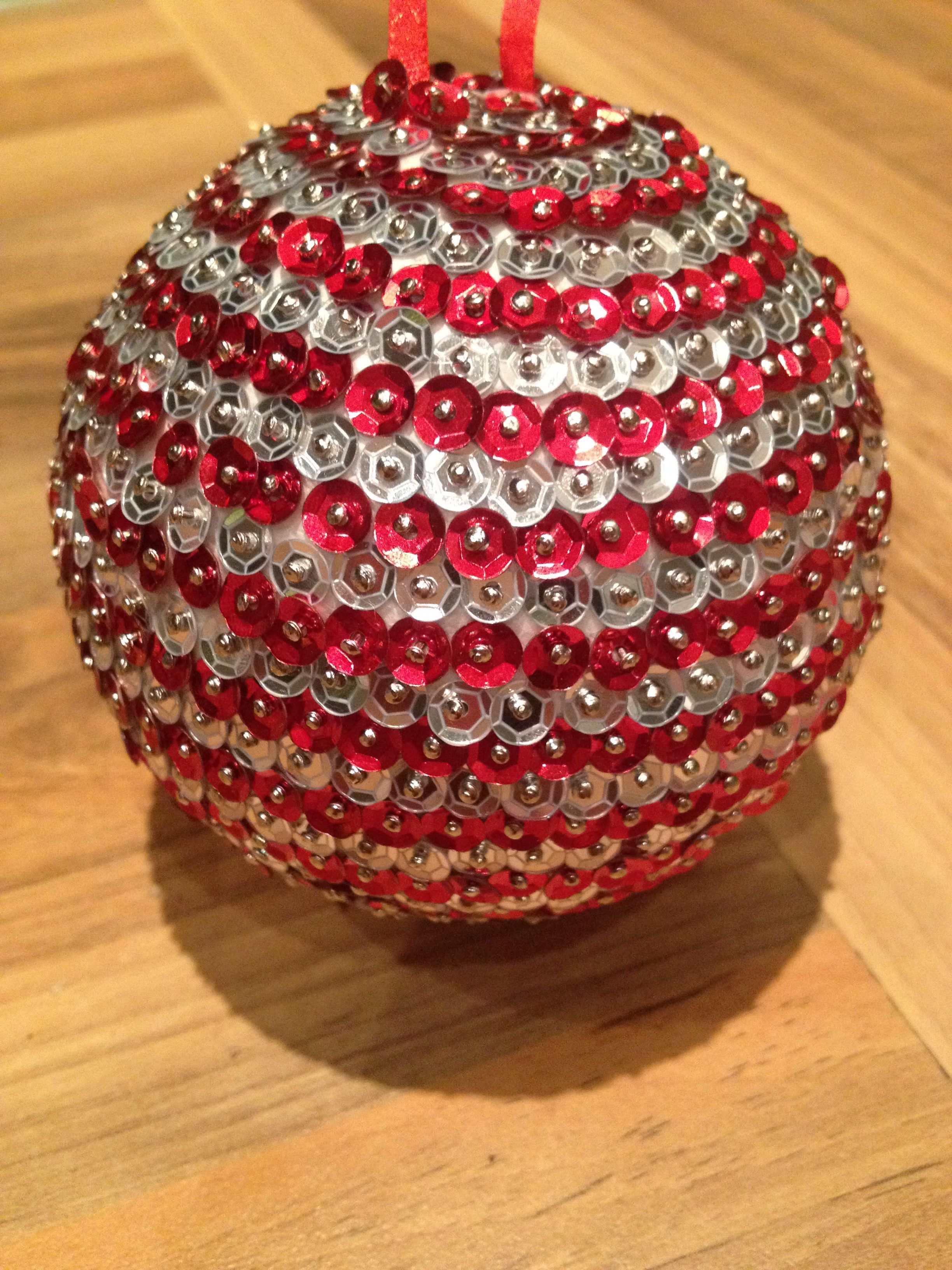 Home Made Baubles Baubles Made With Polystyrene Balls Sequin Pins And A Variety Of Diy Christmas Ornaments Easy Sequin Ornaments Christmas Ornaments To Make
