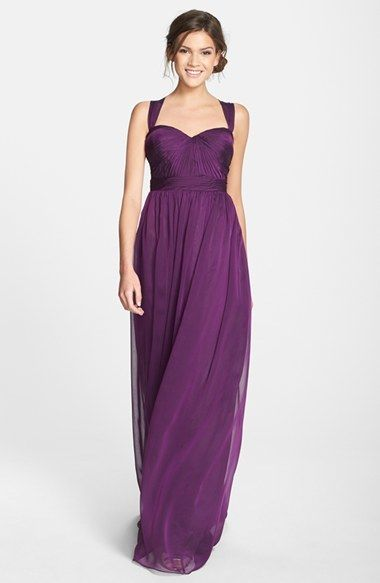 ad67e3b2d4809 Monique Lhuillier Bridesmaids Shirred Chiffon Gown | All things ...