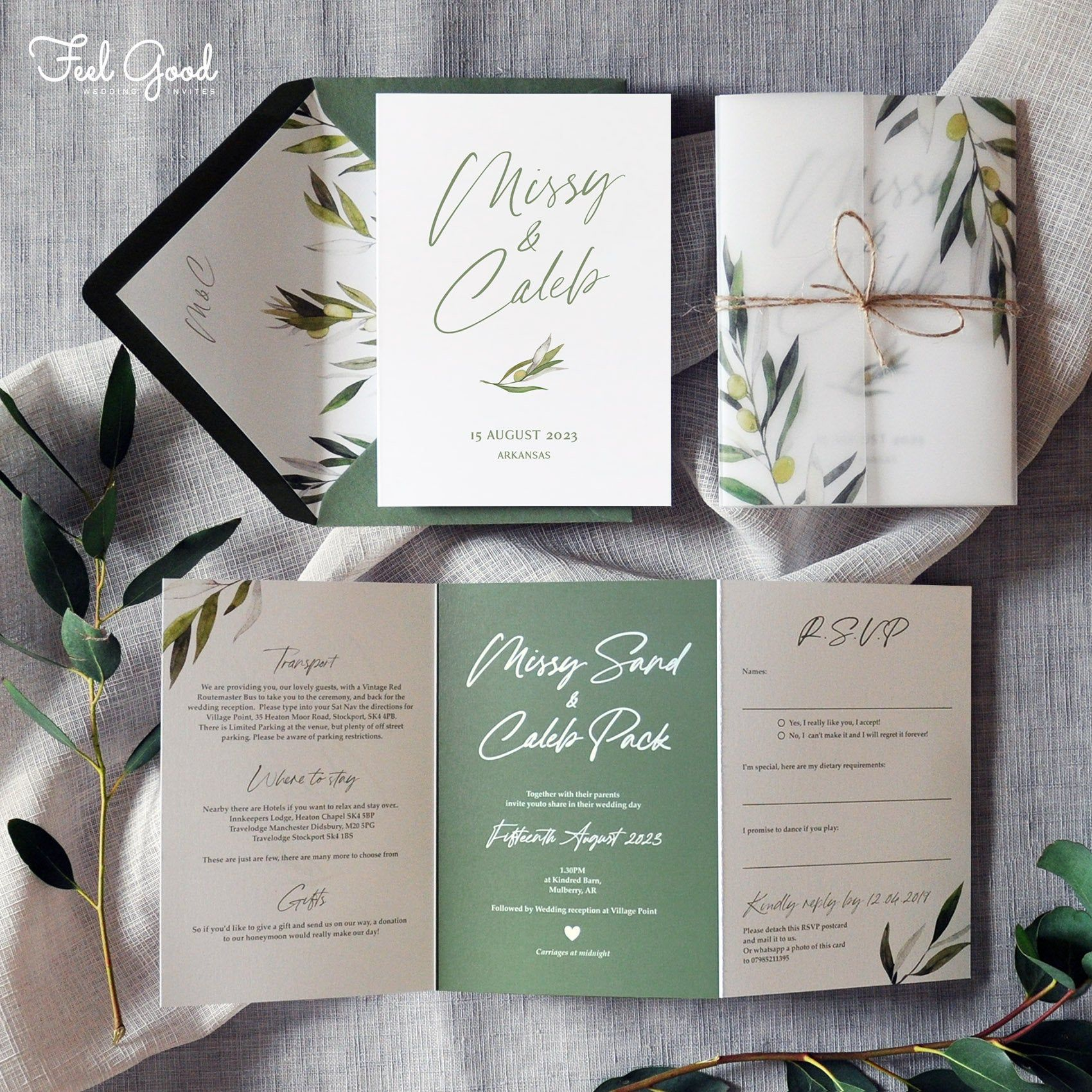 Madeira Luxury Folding Wedding Invitations with tearoff