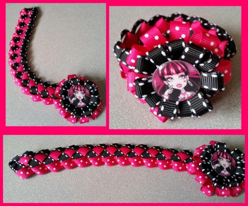 Monster High Hair Bow Ribbon Bun Wrap #B2 (you choose image and ribbon colors)